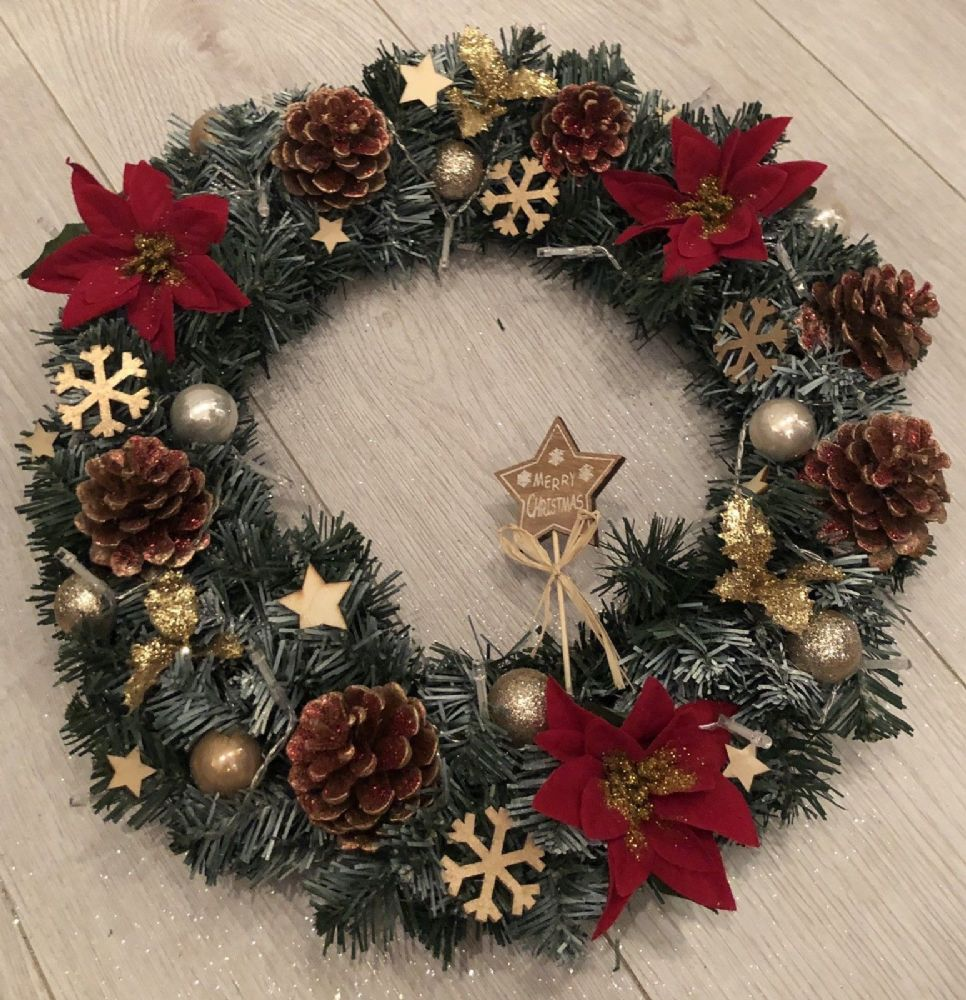 Gold Christmas Wreath.Red Gold Christmas Wreath Fairy Lights Front Door Wall Decoration Poinsettia